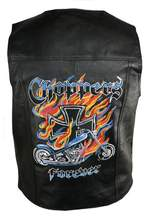 Men's Black Biker Choppers Forever Embroidered Leather Vest
