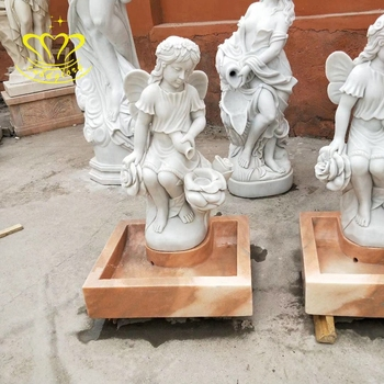 Customized Garden Home Decoration Stone Sculpture New Product Marble Little Angel Statue With Vase Water Fountain