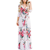 Attractive women sexy white mix flower pattern new ladies dresses
