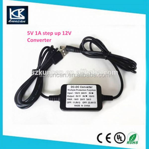 KUNCAN usb 5V input to dc 9/12V output 12v to 24v 3a dc-dc power converter for wifi modem