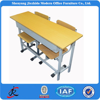 kids primary school high school furniture adjustable metal wooden double school desk with attached chair