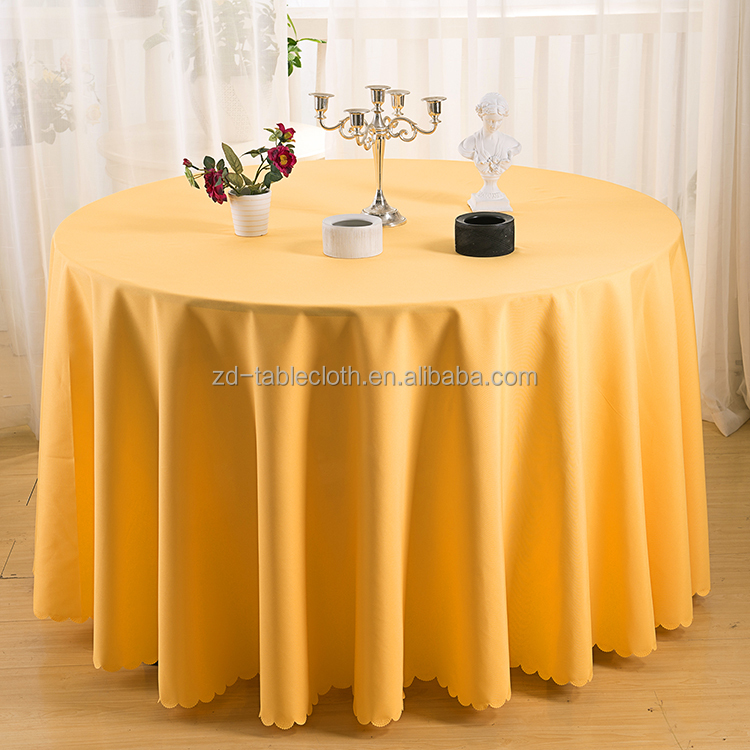 Plain dyed pure color round polyester wedding table cloth