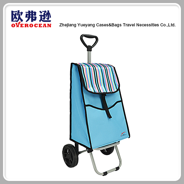 Two wheel polyester foldable shopping cart bag with telescopic handle