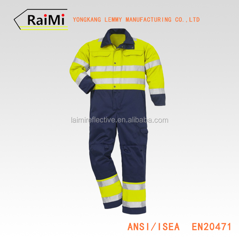 yellow lighting reflective jumpsuits hi vis overalls workwear