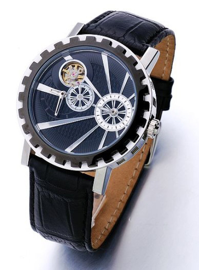 Alibaba china supplier Black Genuine Leather Skeleton Mechanical Sport Wrist Watch