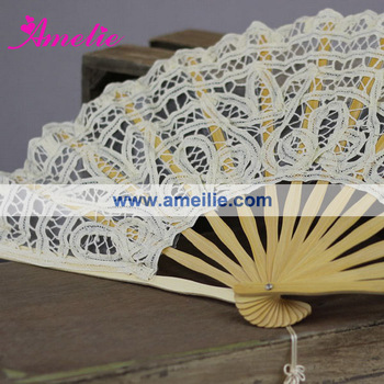 A-Fan057-27 Beige Color Handmade Cotton Lace Fan