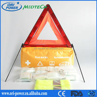 OP hot sale DIN13164L CE FDA ISO approved oem wholesale professional waterproof yellow nylon auto car emergency first aid kit