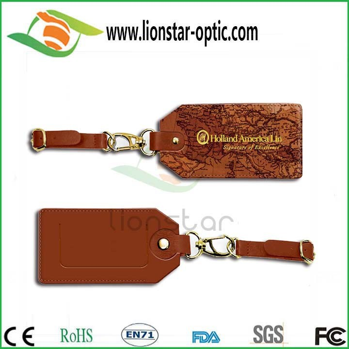 China Factory Travel Luggage Tag Custom Brand Logo  Genuine Leather Luggage tag