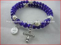 religious rosary crucifix cross statue keychain pendant wooden beads souvenir creative trophy