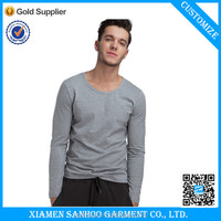 Fitted And Softable Cheap China Factory Price 100% Cotton High Quality Mens Grey Blank Long Sleeve T Shirts