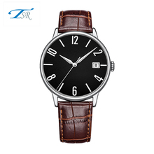 wholesale Custom cheap wrist watch genuine leather strap silver alloy couple watches on sale
