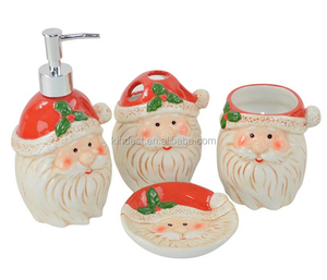 Christmas bath set, Ceramic christmas bathroom accessories, Christmas soap dispenser/Dish