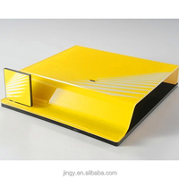 printed yellow acrylic laptop computer monitor stand