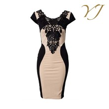 2017 new fashion design short sleeve women evening clothing dress