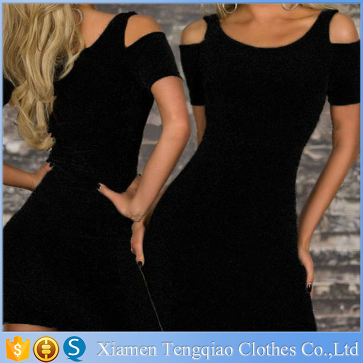 Wholesale New Top Quality Cut Out Shoulder Mini Sexy Club Dress Porn Ladies Black Free Porm Dress