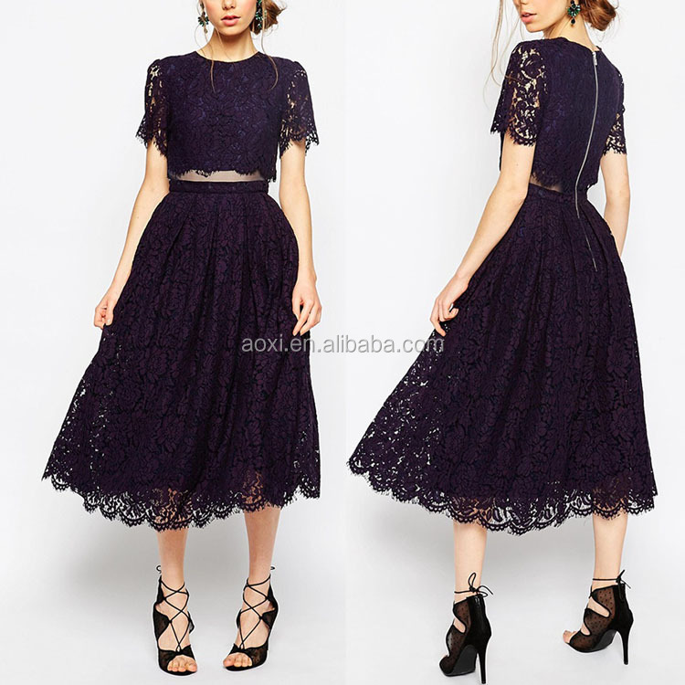 One pieces round collar short sleeve europe elegant midi lady dark royal lace dress
