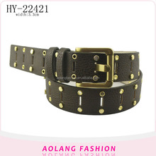 Fashionable America custom men's eyelets studded rivet pu belt for men