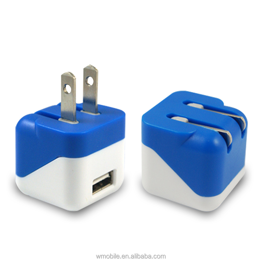 Factory supply 5v 1A single usb wall charger with fold plug CE RoHS FCC Approved QC2.0