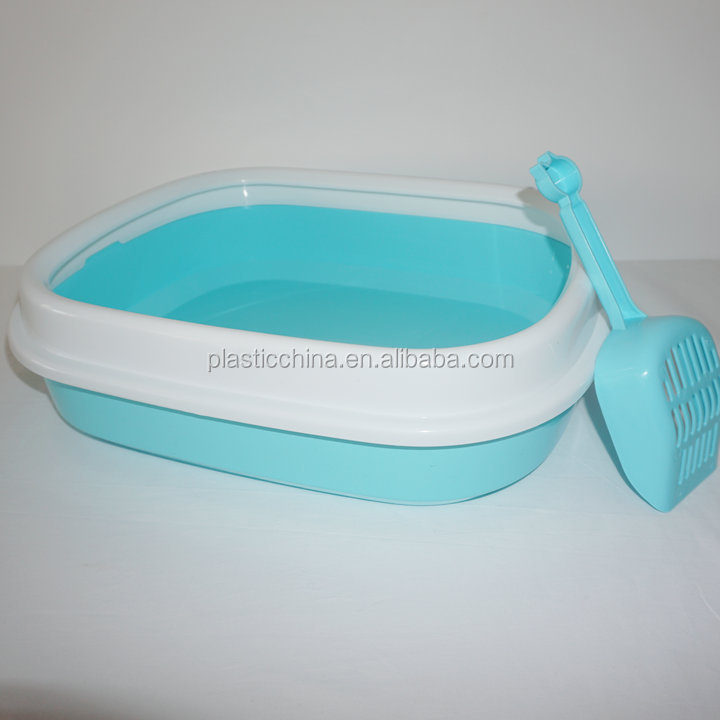 Top quality square plastic cat litter box, cat litter tray, cat toilet with litter poop scoop