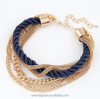 Fashion popular metal chain braided rope multilayer bracelet anklets for women