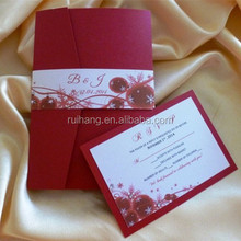 dark red pocket folding wedding invitation card with label
