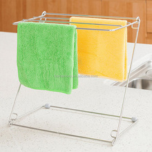 Stainless Steel Folding Creative Kitchen Towel Storage Rack Metal Storage Shelf for Washing Cloth Draining
