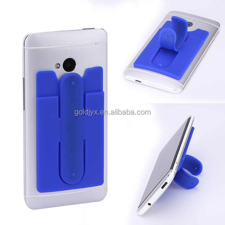 fancy smartphone silicone ID card holder wallet,customer logo mobile phone card pocket