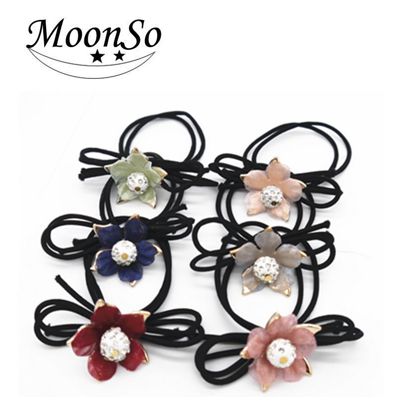 Jewelry Wholesale!!! <strong>Hair</strong> <strong>Accessories</strong> for Girls/ Women rhinestone bow flower Elastic <strong>Hair</strong> Band <strong>Hair</strong> Rope MoonSo AH5644