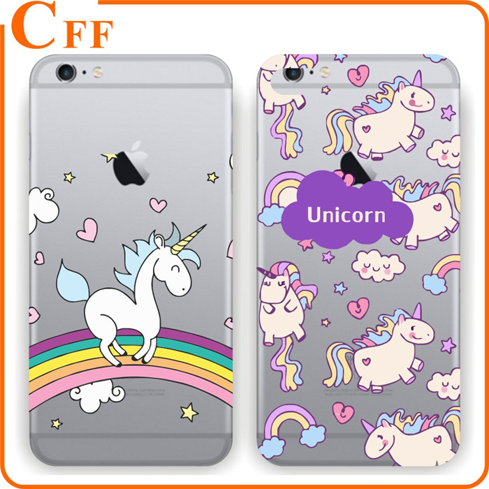Cartoon Unicorn Horse with Rainbow for Iphone 6 6S Slim Case Clear for iphone 4 5 Case Plastic Hard Case