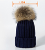 Womens Real Large Raccoon Fur Pom Pom Beanie Winter Hats