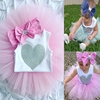 Bowknot headband, baby romper and tutu dress set, 3pcs romper tutu set