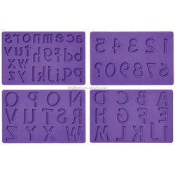 Letters and Numbers Pattern Art Fondant and Gum Paste Silicone Fondant Mold Decorating Cake