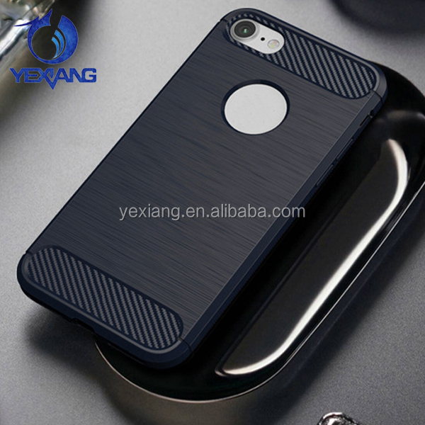 Luxury Brueshed Skin Soft TPU Back Cover For Iphone 7 Carbon Fiber Case