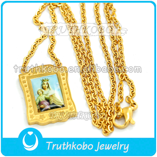 Gold plated religious jewelry necklace religious jewelry mother mary necklace virgin mary necklace