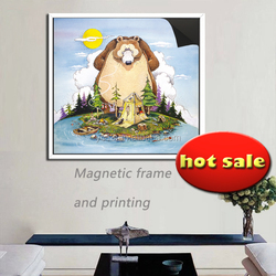 updating ad decoration magnetic frame & print magnetic painting Crazy Fisherman 1013-130
