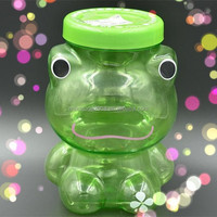 Animal Green Frog Shape Plastic Candy Storage Container with Twisted Open Lid