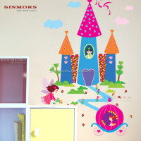 Promotional castle princess paint self adhesive pvc wallpaper room decor kids wall stickers home decor
