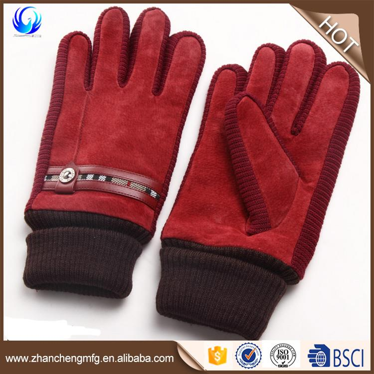 Men's pig suede Leather gloves for wholesales touchscreen with cheap price