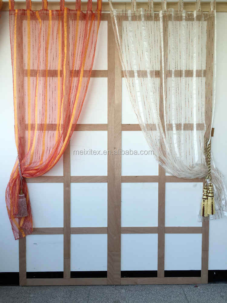 jacquard stripe crushed fabric sheer curtains