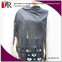 new arrival lady vintage soft leather tassel shawl black triangular suede shawl and cape