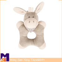 Baby products wholesale stuffed baby rattles ring donkey toy
