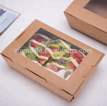 Disposable take away kraft paper salad bowl food container match with lid