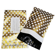 Custom gold polka dot Decorative plastic mailing bag shipping clothes