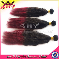 Cheap brazilian remy hair kinky straight hair weft ombre yaki hair extension
