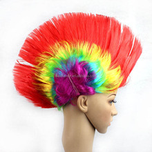 red yellow pink light blue cheap synthetic cosplay hair costume wigs QPWG-8142