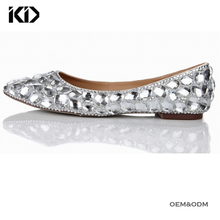 Premium brand handmade crystal bridal wedding flat women shoes for wholesale