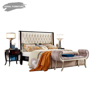 wood frame king size upholstered fabric bed for bedroom