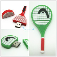 custom 3D badminton battledore shape usb flash drive 2gb 4gb 8GB bulk cheap