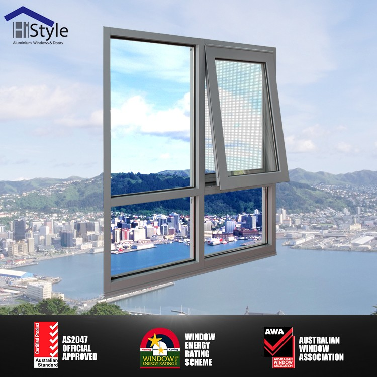 double glass hung window sound proof aluminium frame window opening pole