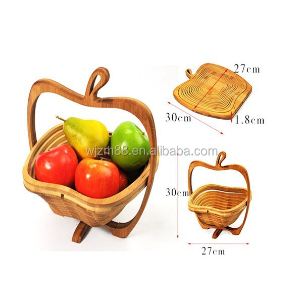 factory wholesale apple shaped bamboo folding fruit baskets